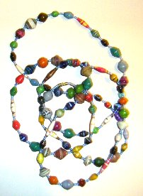 extra long mult-coloured paper bead necklace