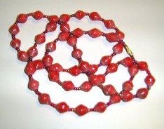 red paper beads necklace - medium length