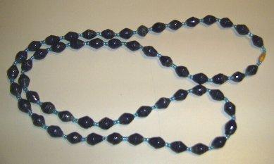 dark blue paper bead necklace
