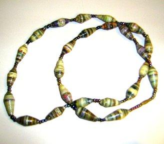 darker tones of yellow paper beads necklace