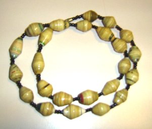 larger yellow paper beads in this necklace - somewhat shorter too.