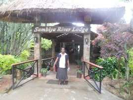 Christine at the Samblya River Lodge Game reserve